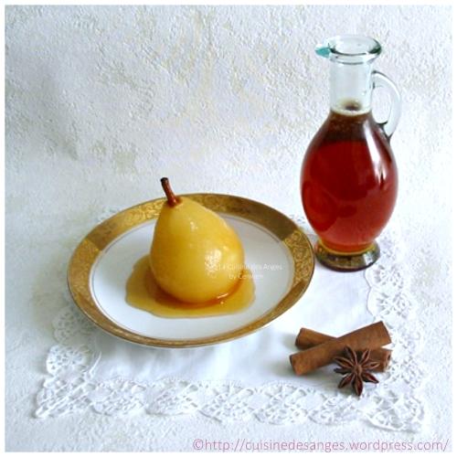 recette de dessert, poires pochées au vin blanc ou rouge, avec des épices, cannelle et badiane
