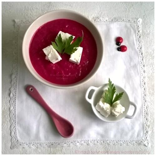 recette de soupe froide ou glacée à la betterave rouge et au conombre
