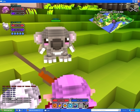 Cube World, personnages du jeu : elfe, koala et tortue