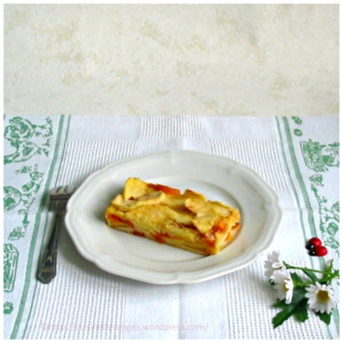 Recette du gâteau invisible aux pommes avec des pommes et des abricots