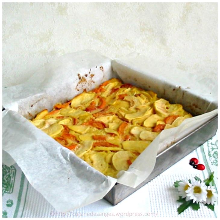 Recette de gâteau facile, économique et léger aux pommes et aux abricots