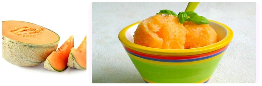 ecette de sorbet ou glace au melon avec des blancs d'oeufs et sans sorbetière