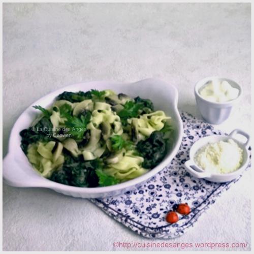 Recette économique, fins de mois difficiles, One-Pot Pastas ou  pâtes aux épinards et aux champignons