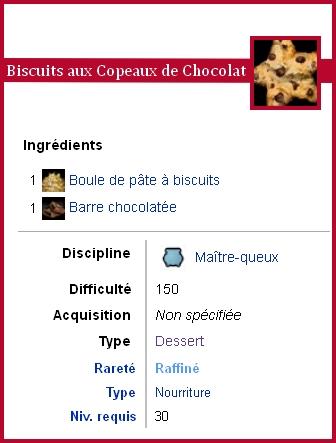 Fiche technique de la recette des sablés aux pépites de chocolat