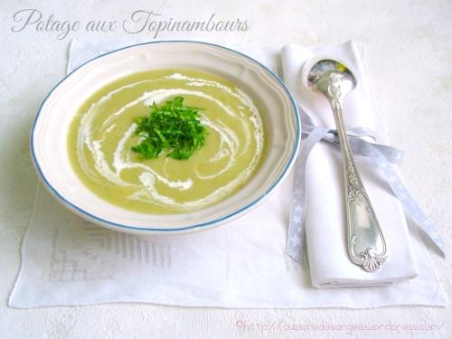 recette de potage aux topinambours, avec des poireaux, de la salade et de la crème