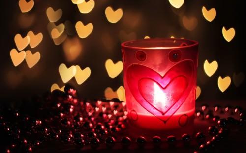 bougies et coeurs de lumière