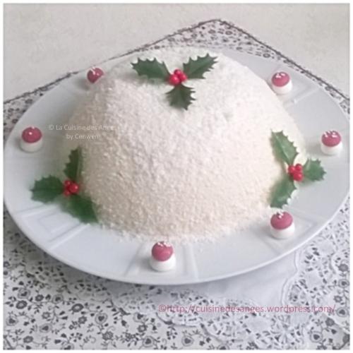 recette de Noël, bavarois à la confiture de lait, insert de pommes au caramel et pain d'épices