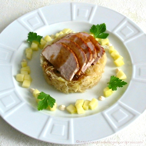 recette économique de rouelle de porc cuite au four dans du cidre avec des oignons