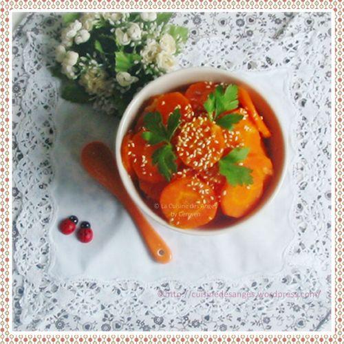 Recette de carottes cuites au jus d'oranges avec du miel et du gingembre