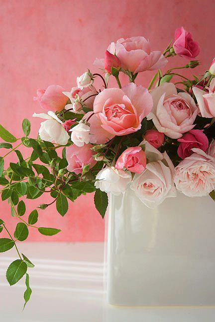 Bouquet de roses roses et blanches en bouquet