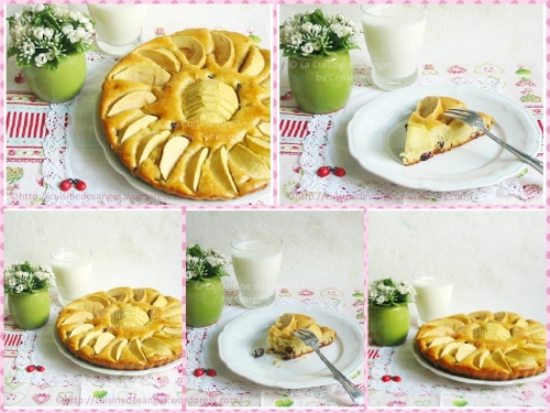 recette de dessert facile et économiques, une tarte aux pommes entre la tarte et le gâteau