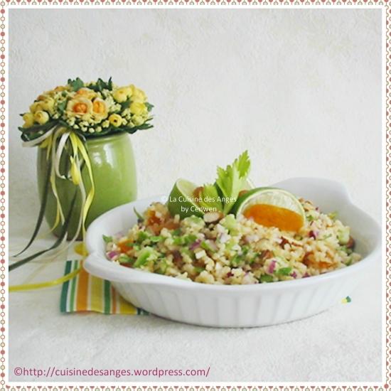 recette facile de taboulé avec du céleri branche, des amandes, du citron vert et d'abricots secs