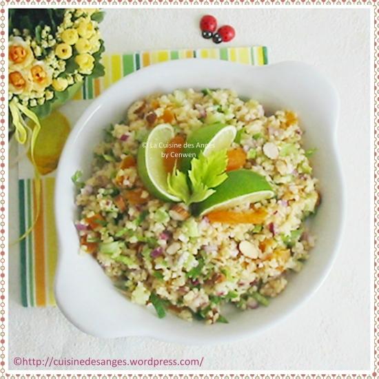 Recette facile et économique de salade composée, salade de boulgour au céleri et citron vert, avec des amandes et des abricots secs