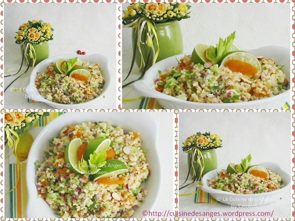 salade de boulgour au c leri abricots secs amandes et citron vert la cuisine des anges. Black Bedroom Furniture Sets. Home Design Ideas