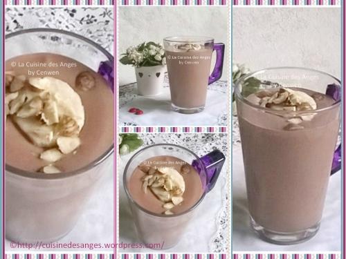 recette de smoothie ou milk-shake à la banane, au cacao, tofu soyeux et lait de soja