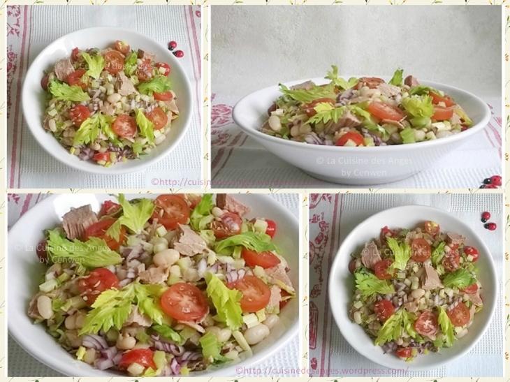 recette économique de salade composée avec des haricots blancs, des dés et des feuilles de céleri, des tomates cerises et du thon