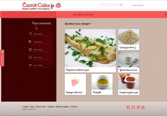 Carrotcake.fr, menu de la journée