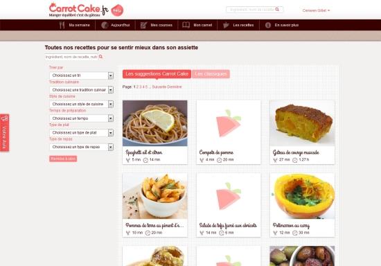 Carrotcake.fr, page d'accueil et de recherches des recettes