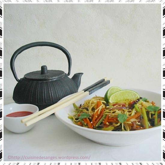 Recette économique de nouilles sautées aux légumes, avec du céleri et des carottes
