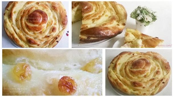 escargot en pâte levée sucrée, fouré à la crème parfumée et aux raisins secs