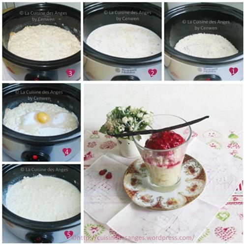 recette pas à pas du riz au lait cuit à la mijoteuse, accompagné d'un coulis de framboises