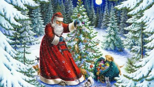 illustration dessinée représentant le Père Noël