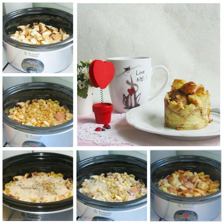 gâteau de pain rassis cuit à la mijoteuse, étapes de cuisson