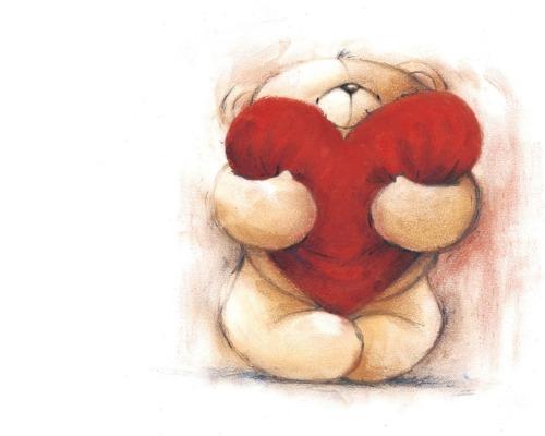 dessin d'un nounours avec un coeur rouge